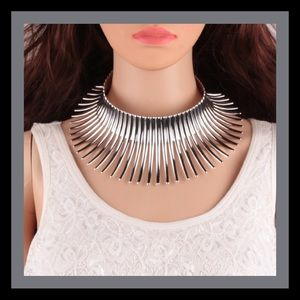 Boutique Jewelry - Silver Torque Statement Choker Necklace NWT